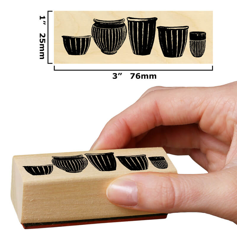 Row of Pots by Rubber Stamp Tapestry