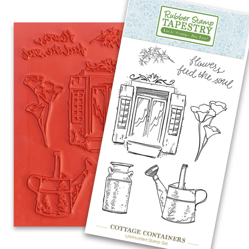 Cottage Containers Unmounted Rubber Sheet by Rubber Stamp Tapestry