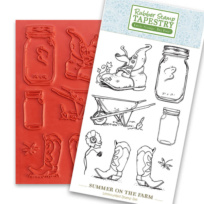 Summer on the Farm Unmounted Rubber Sheet by Rubber Stamp Tapestry